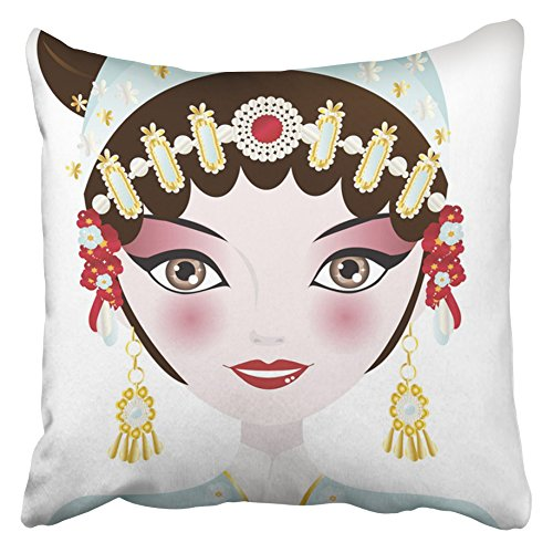 Emvency Decorative Throw Pillow Covers Cases Beijing Beautiful Opera Chinese Woman in Blue Costume Her Hair up Adorned Jewelry China 16x16 inches Pillowcases Case Cover Cushion Two Sided]()
