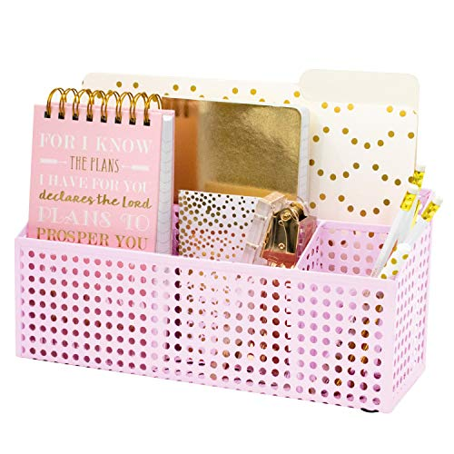 Blu Monaco Pink Desk Mail Organizer - 3 Compartment Cubicle Desktop Caddy - Pink Metal -