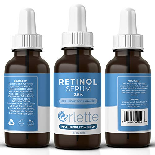 51oNEa9yRFL - Orlette Retinol Serum 2.5% - Professional Grade Skincare - Vitamin A and E, Hyaluronic Acid - Anti-Aging, Hydrating Skin and Face Moisturizer - Wrinkle, Acne Spot, Pigmentation, Blemish Remover - 30ml