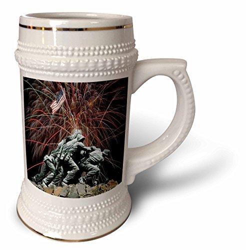 Fireworks Mug - Sandy Mertens Patriotic - Marine Corp Memorial with Fireworks - 22oz Stein Mug (stn_14248_1)