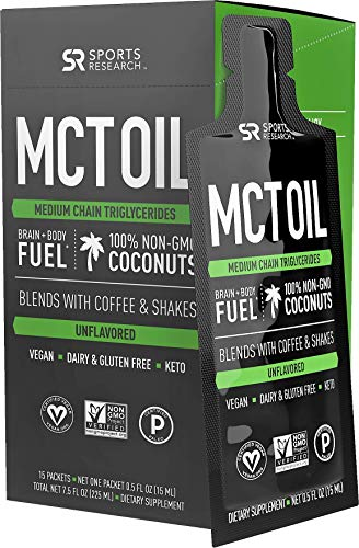Premium MCT Oil derived only from Non-GMO Coconuts| Keto Fuel for The Body & Brain | Vegan Certified, Keto Friendly and Non-GMO Verified (15 Travel Packets) -  Sports Research, FG127A