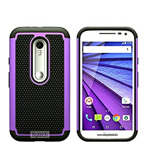 8gtech Purple Heavy Duty Hybrid Hard Silicone Case Cover For MOTO G 3 MOTO G (3rd Gen.) + Screen Protector