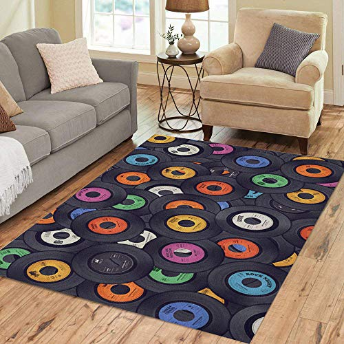 Semtomn Area Rug 3' X 5' Pop Vinyl Records Music Album Retro Sixties Disco Old Home Decor Collection Floor Rugs Carpet for Living Room Bedroom Dining Room