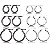 CHARMINGO Hoop Earrings Stainless Steel Huggie Earrings Set for Womens Girls