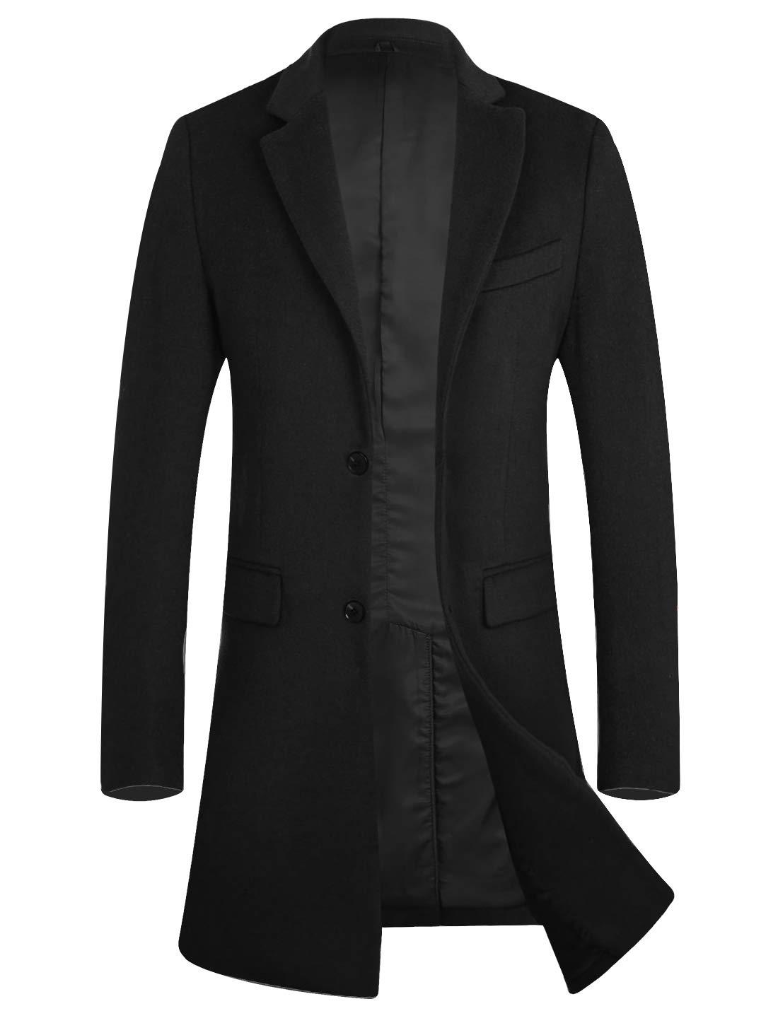 APTRO Men's Wool Blend Trench Coat Above Knee Winter Overcoat 1702 Black XL by APTRO