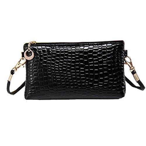 Sandistore Women Crocodile Leather Messenger Crossbody Clutch Shoulder Handbag (Black)