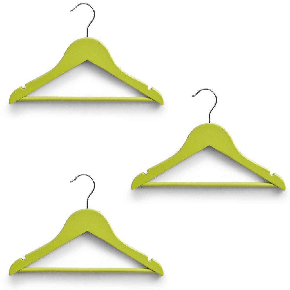 Kinder Kleiderbügel Kids Kleider Bügel Set 3, 9, 12 Stück - verschiedene Farben (3er Set, Grün) Grün) Zeller