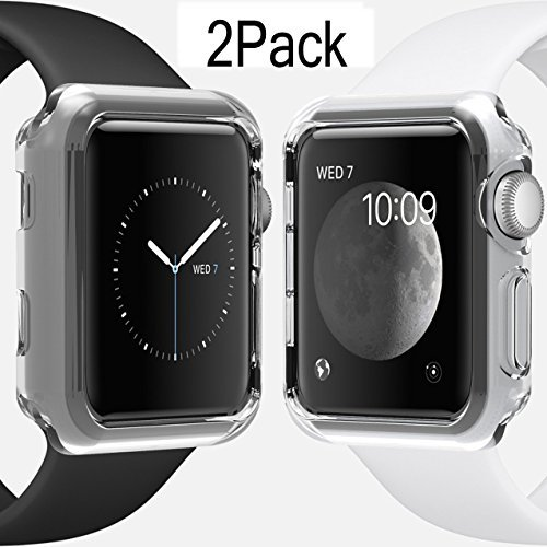 For Apple Watch Case 42mm CAseHQ Thinnest Most Lightweight Screen Protector Case Cover TPU Slim All-around Protective Cases Fit for Apple Watch / Watch Sport / Watch 2015(42mm) Crystal Clear - Gucci Black All
