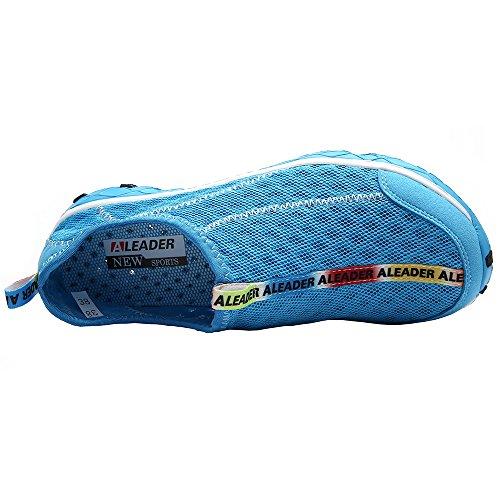 Aleader Herren Wasser-Schuhe Netzstoff Schlupfschuh Blau