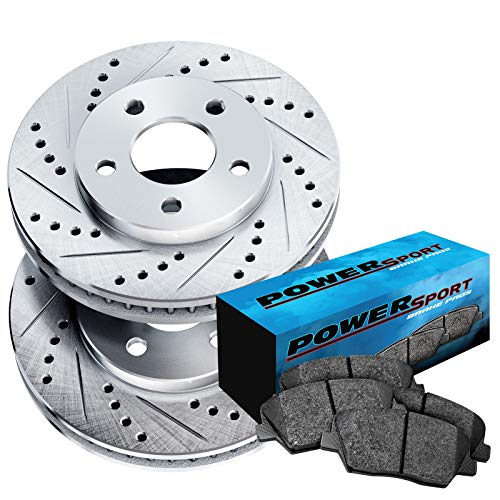 (Fit 2008-2014 Smart Fortwo Front Sport Drill Slot Brake Rotors+Ceramic Brake Pad)