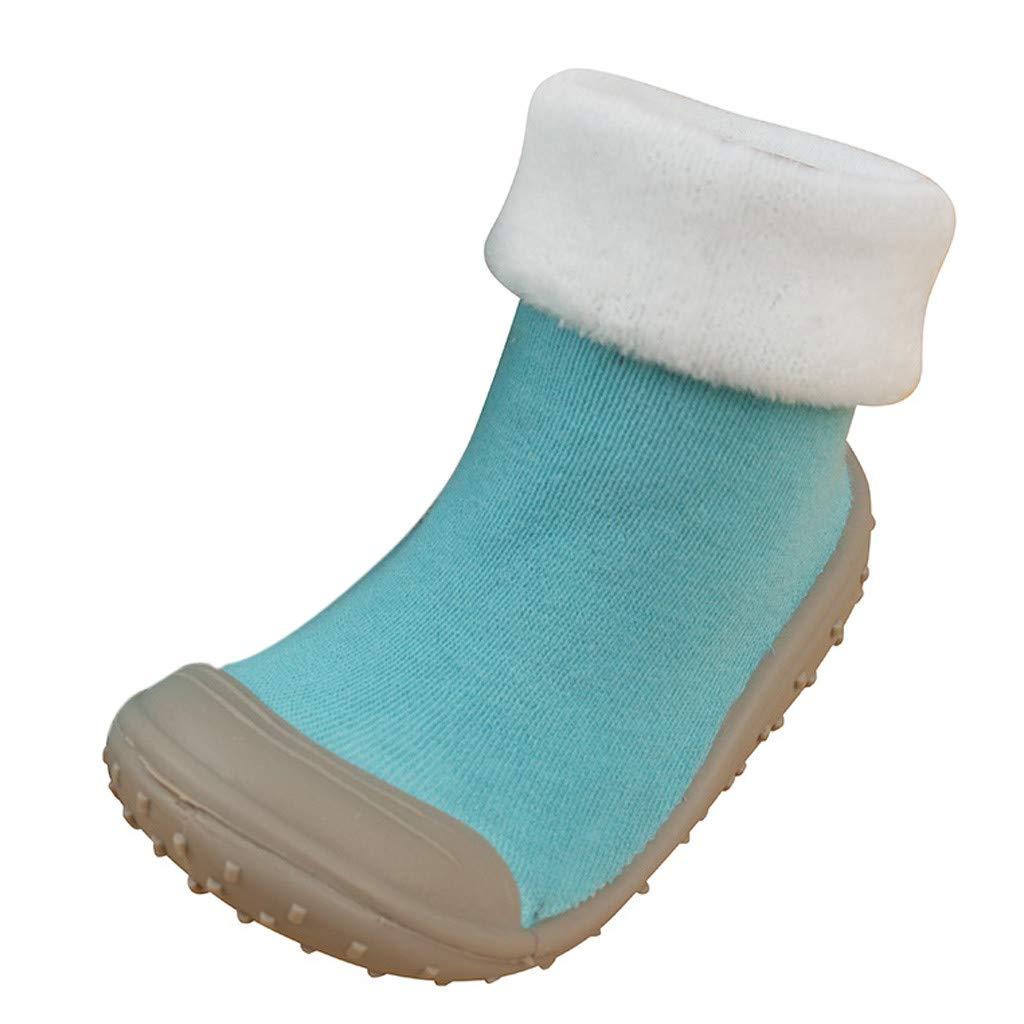 NUWFOR Baby Infant Toddler Girls Boys Solid Winter Warm Prewalker Socks Shoes(Blue,6-12Months)