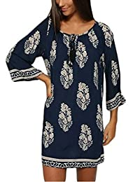 OURS Women's Casual Floral Printed Tunic Summer Beach Dress w/ 3/4 Sleeve