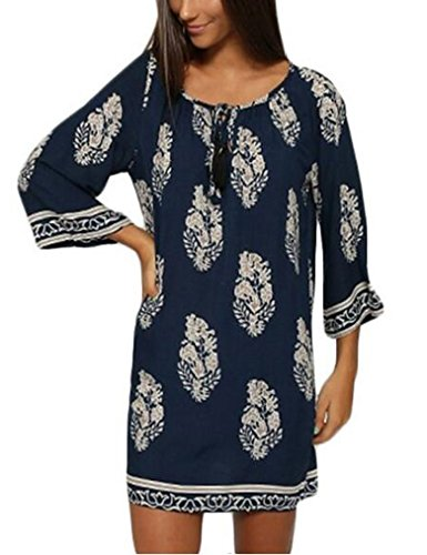 OURS Women's Casual Floral Printed Tunic Summer Beach Dress w/ 3/4 Sleeve (L, Navy Blue)