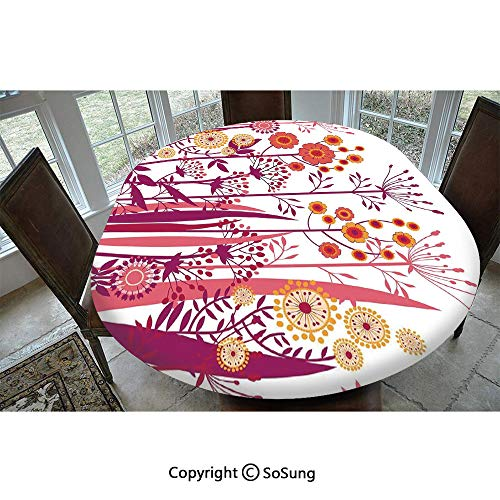 Flower Polyester Fitted Tablecloth,Garden Pink Florals Buds Leaves Swirls Romantic Modern Art Oblong Elastic Edge Fitted Table Cover,Fits Oval Tables 48x48 Purple Coral Light Pink and Orange