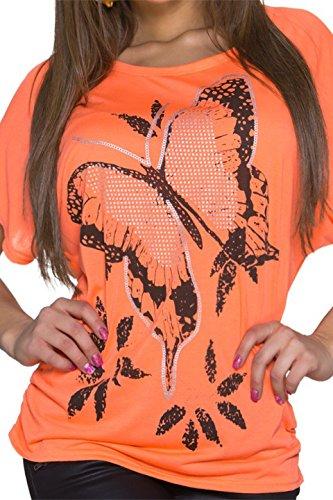 keine keine Femme Aucun Orange Manches Courtes Chemisier Motif rnwpB4qrO