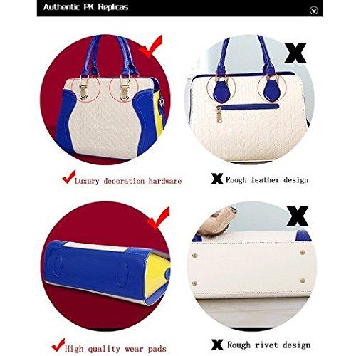 Elensan1 - Bolso mochila  de Charol para mujer Azul azul