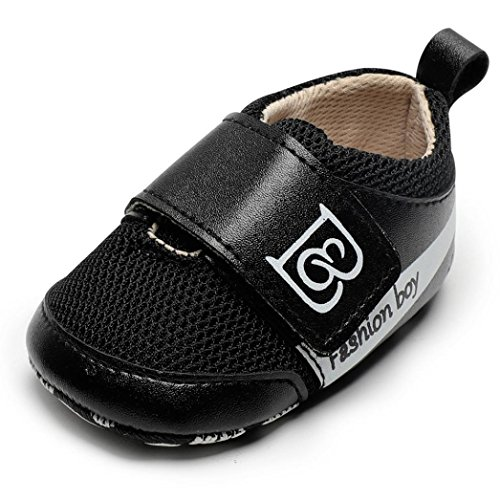 Mesh Tuxedo - WARMSHOP Outdoor Shoes for Boys Girls, 0-18 Months Newborn Breathable Mesh Letter Printed Anti-Slip Footwear Crib Shoes (0-6 Months, Black)