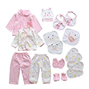 18pcs Unisex Newborn Baby Boy Girl Clothes Sets, 0-6 Months Infant Outfits, Essentials Accessories (Pink)
