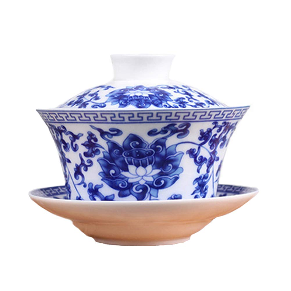 Cuteboom Teacup Coffee Dish Jingdezhen Lotus Traditional Chinese Teaware China Traditional HBlue and White Porcelain Large Gaiwan Kungfu Teacup (Lotus)