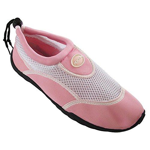 Zapatillas Rockin Footwear Aqua Stripes Aqua Calcetines Agua Rosa / Blanco