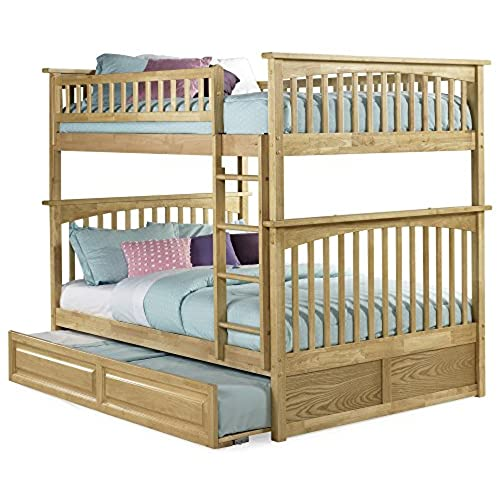 Beau Atlantic Furniture Columbia Bunk Bed With Trundle Bed, Full Over Full,  Natural