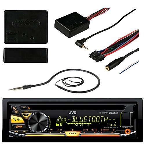 JVC KD-RD97BT Bluetooth Car CD USB Stereo Receiver Bundle Combo With Metra ASWC-1 Universal Steering Wheel Controller Module, Enrock 22