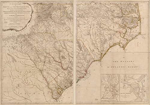 Map: 1794 An accurate of North and South Carolina with their Indian frontier, shewing in a distinct manner all the mountains, rivers, swamps, arshes, bays, creeks, harbours, sandbanks and soundings on (Pottery Barn Carolina South)