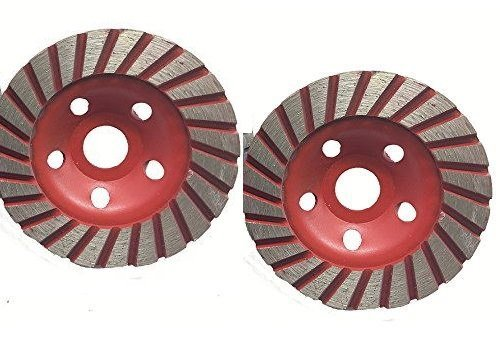 4 1/2 Inch 115mm Set of 4 Pieces Diamond Turbo Grinding Cup Wheel Coarse Grit for Concrete / Granite Floor coating removal lippage removal ()