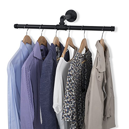 Rustic State Industrial Wall Mount Pipe Hanger Rack Holder Clothes Bar Iron Black 26 Inch (Hang Closet Double)