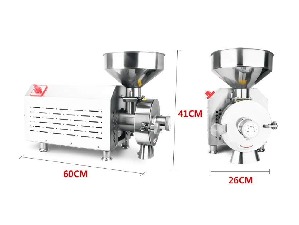 KUNHEWUHUA Commercial Dry /& Oily Material Grinder Automatic Powder Mill Machine Sesame Peanut Walnut Almond Mill Pulverizer Soybean Grain Grinding Machine 20-40kg//h 3500W 220V