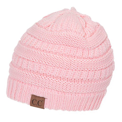 C.C Women's Thick Knit Beanie, Pale - Knit Pink Beanie