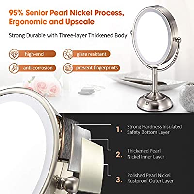 "VESAUR Professional 7.5"" Lighted Makeup Mirror, 10X Magnifying Vanity Mirror with 28 Medical LED Lights, Senior Pearl Nickel Cosmetic Mirror"