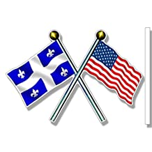 Crossed Poles with USA and QUEBEC Waving Flags Sticker (canada canadian american)