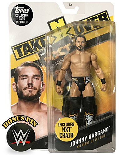 WWE NXT Takeover Johnny Gargano Wrestling Action Figure w/ Chair, Topps Collector Card and Exclusive Pin