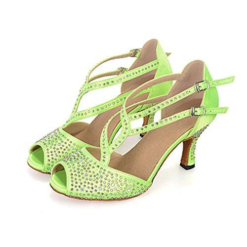 Traforato Nero Marrone Raso Con Diamantini Sandali Prestazioni Balli Verde Latino Sneaker Donna A Nastro Americani Tacco Tacchi Rocchetto tZaqP