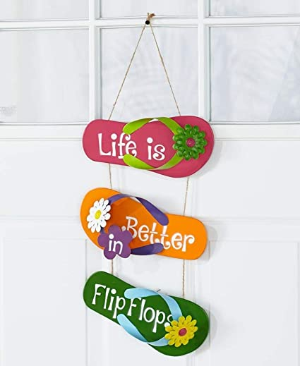 e00f7e192 Image Unavailable. Image not available for. Color  The Lakeside Collection Flip  Flop Wall Decor