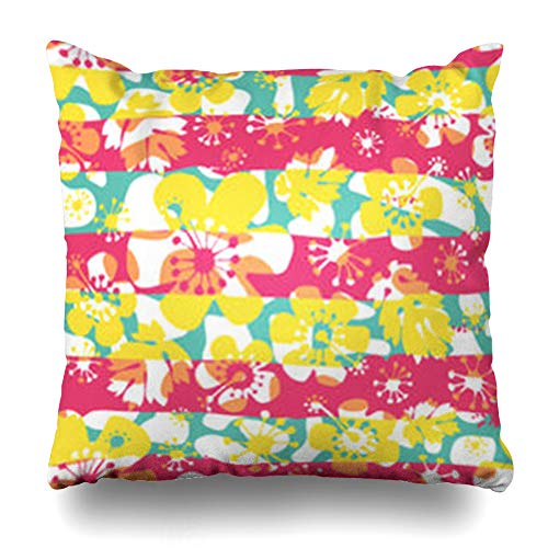 Decor.Gifts Throw Pillow Covers Sakura Acanthus Abstract Flowers Pattern Dots Hibiscus Leaf Lines Nature Cushion Case Square Size 18 x 18 Inches Home Decor Pillowcase