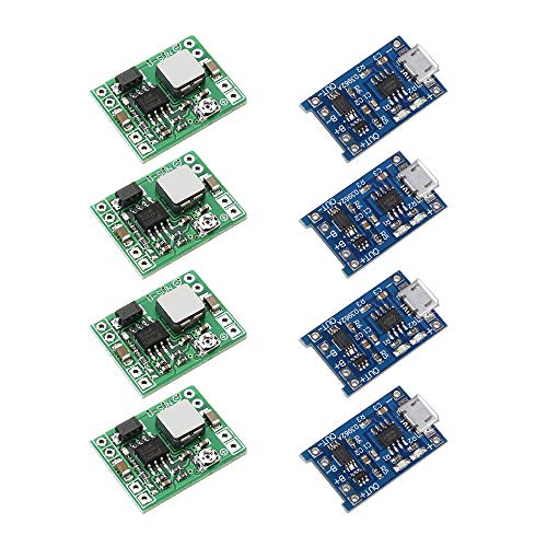 GeeWin 4 Set Mini MP1584EN DC-DC 2A Boost Converter Adjustable Power Step Up Module 3.7V to 9V 5V + TP4056 Lithium Battery Charger Module Micro USB 5V 1A with Protection