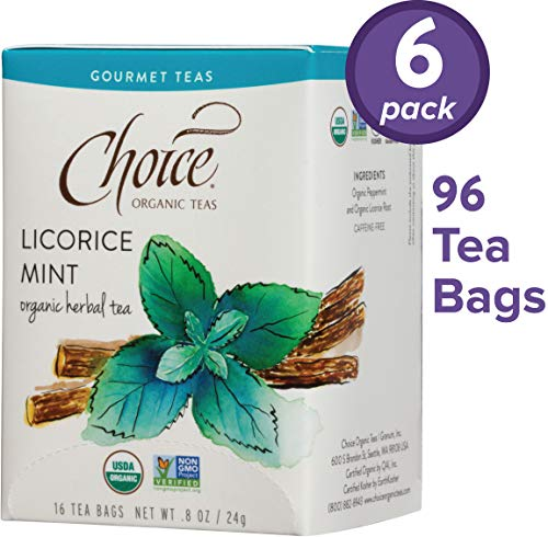 Choice Organic Teas Gourmet Herbal Tea, 6 Boxes of 16 (96 Tea Bags), Licorice Mint, Caffeine Free