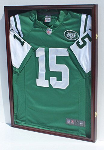Lockable 98% UV Protection - Baseball/Football/Basketball/Soccer/Hockey Jersey Display Case Shadowbox Wall Mount, Mahogany (JC04-MA) ()
