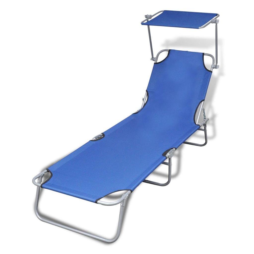 vidaXL Sun Lounger Bed Chair Beach Recliner Garden Pool Seat Back Relaxer Blue