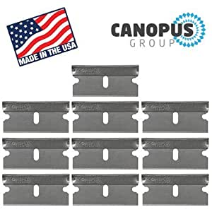 Single Edge Industrial Razor Blades, Box Cutter Replacement Blades, Glass Scraper Razor Blades By Canopus (10 Pack) - Fits ALL Standard Tools - %100 Made in USA