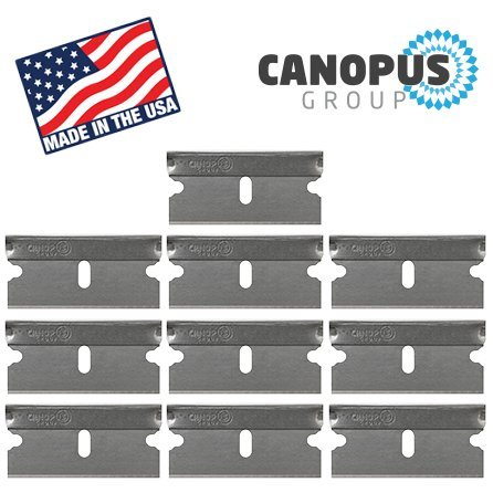Single Edge Industrial Razor Blades, Box Cutter Replacement Blades, Glass Scraper Razor Blades By Canopus (10 Pack) - Fits ALL Standard Tools -%100 Made in USA