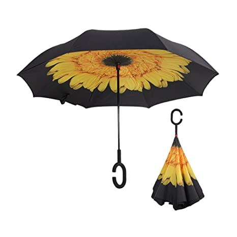 fablight resistente al viento doble capa plegable paraguas invertido 8-rib marco reforzado, Self