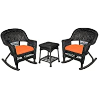 Jeco W00207R-D_2-RCES016 3 Piece Rocker Wicker Chair Set Orange Cushion, Black