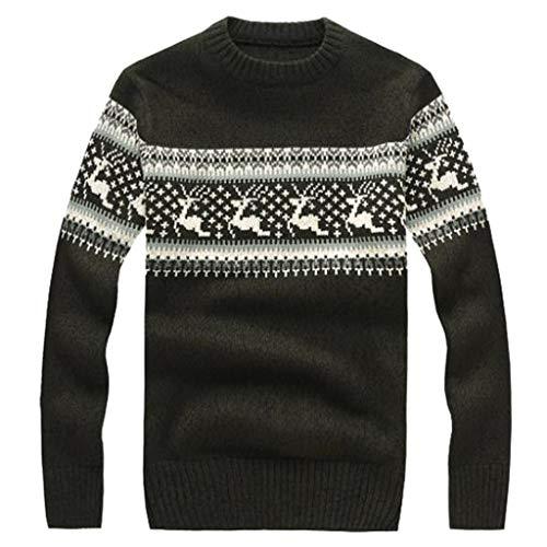 Men's Christmas Printing Sweater Autumn Winter Snowflakes Reindeer