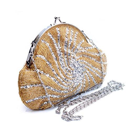 La De à gold De Sac Sac Main Embrayage En Mesdames Robe Sacs Soirée Strass Perles Brodées à Soie Main Banquet HIxnC5g7wq