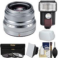 Fujifilm 35mm f/2.0 XF R WR Lens (Silver) with Flash + 3 Filters + Diffusers + Kit for X-A2, X-E2, X-E2s, X-M1, X-T1, X-T10, X-Pro2 Cameras