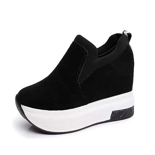 Las Mujeres Aumentaron Zapatos Mocasines Plataforma Zapatos de tacón de cuña Zapatos Casuales Transpirable Slip en Zapatos vulcanizados: Amazon.es: Zapatos ...
