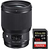 Sigma 85mm F1.4 DG HSM Art Full-Frame Sensor Lens for Sony E Mount Cameras (321-965) with Sandisk Extreme PRO SDXC 128GB UHS-1 Memory Card